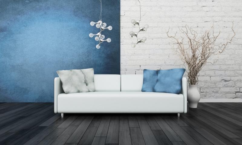 Witte Keuken Blauwe Muur : Blauw en wit geschilderde muur